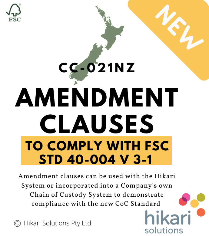FSC Chain of Custody NZ Amendment Clauses
